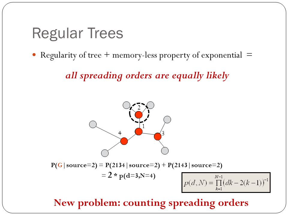 New problem: counting spreading orders P(G|source=2) = P(2134|source=2) + P(2143|source=2) 1 3 2 4 all spreading orders are equally likely = 2 * p(d=3