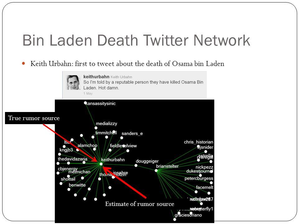 Bin Laden Death Twitter Network Keith Urbahn: first to tweet about the death of Osama bin Laden Estimate of rumor source True rumor source
