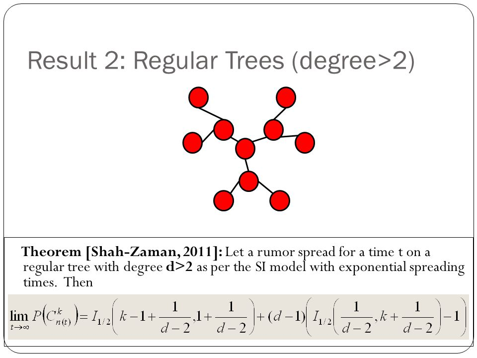 Result 2: Regular Trees (degree>2) Theorem [Shah-Zaman, 2011]: Let a rumor spread for a time t on a regular tree with degree d>2 as per the SI model w