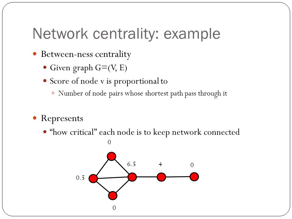 Network centrality: example Between-ness centrality Given graph G=(V, E) Score of node v is proportional to Number of node pairs whose shortest path p
