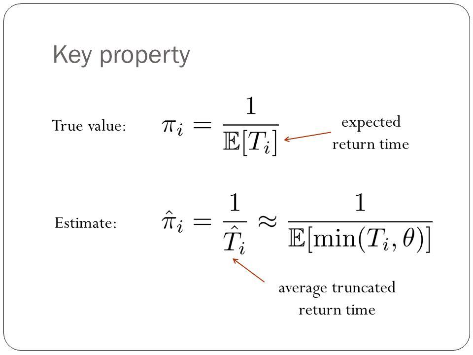 Key property True value: expected return time average truncated return time Estimate: