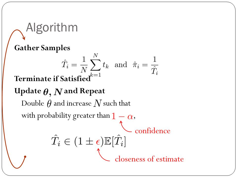 Algorithm Gather Samples Terminate if Satisfied Update and Repeat Double and increase such that with probability greater than, closeness of estimate c