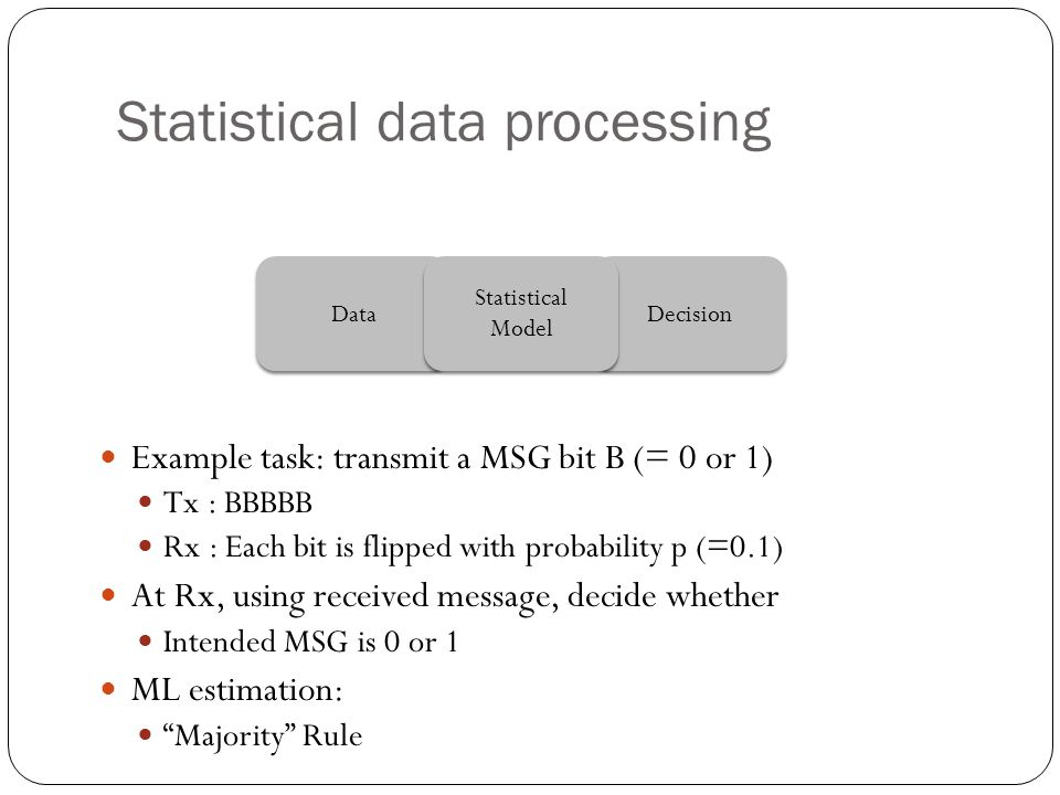 Statistical data processing Data Decision Statistical Model Statistical Model Example task: transmit a MSG bit B (= 0 or 1) Tx : BBBBB Rx : Each bit is flipped with probability p (=0.1) At Rx, using received message, decide whether Intended MSG is 0 or 1 ML estimation: Majority Rule