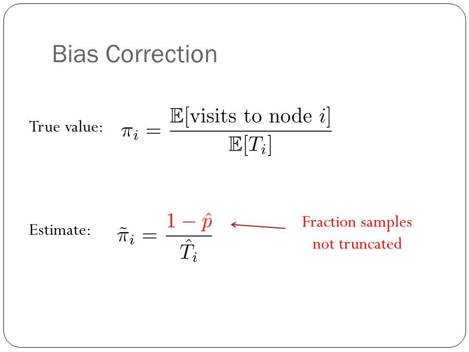 Bias Correction True value: Estimate: Fraction samples not truncated