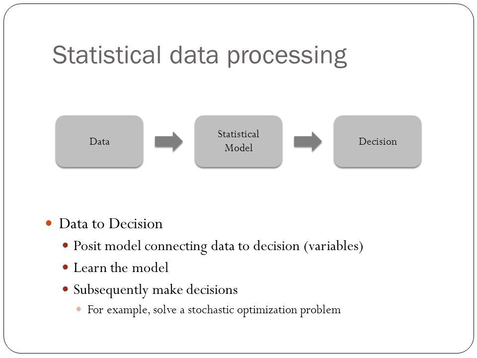 Statistical data processing Data Decision Statistical Model Statistical Model Data to Decision Posit model connecting data to decision (variables) Lea