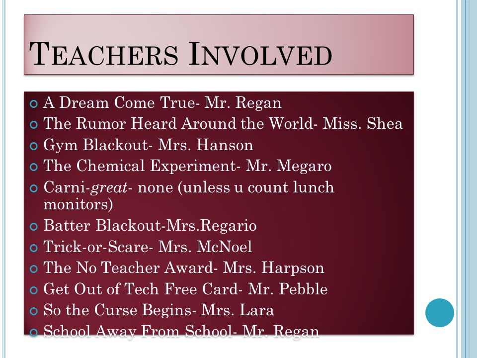 T EACHERS I NVOLVED A Dream Come True- Mr. Regan The Rumor Heard Around the World- Miss. Shea Gym Blackout- Mrs. Hanson The Chemical Experiment- Mr. M