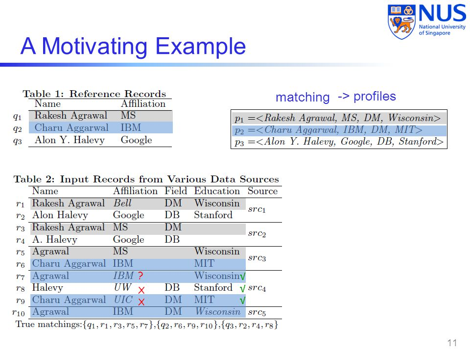 A Motivating Example X X ? √ √ √ 11 matching -> profiles