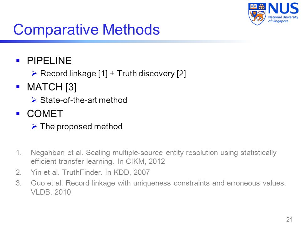 Comparative Methods  PIPELINE  Record linkage [1] + Truth discovery [2]  MATCH [3]  State-of-the-art method  COMET  The proposed method 1.Negahban et al.