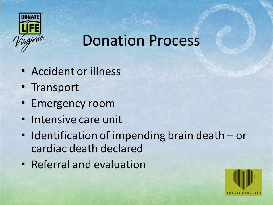 Donation Process Accident or illness Transport Emergency room Intensive care unit Identification of impending brain death – or cardiac death declared