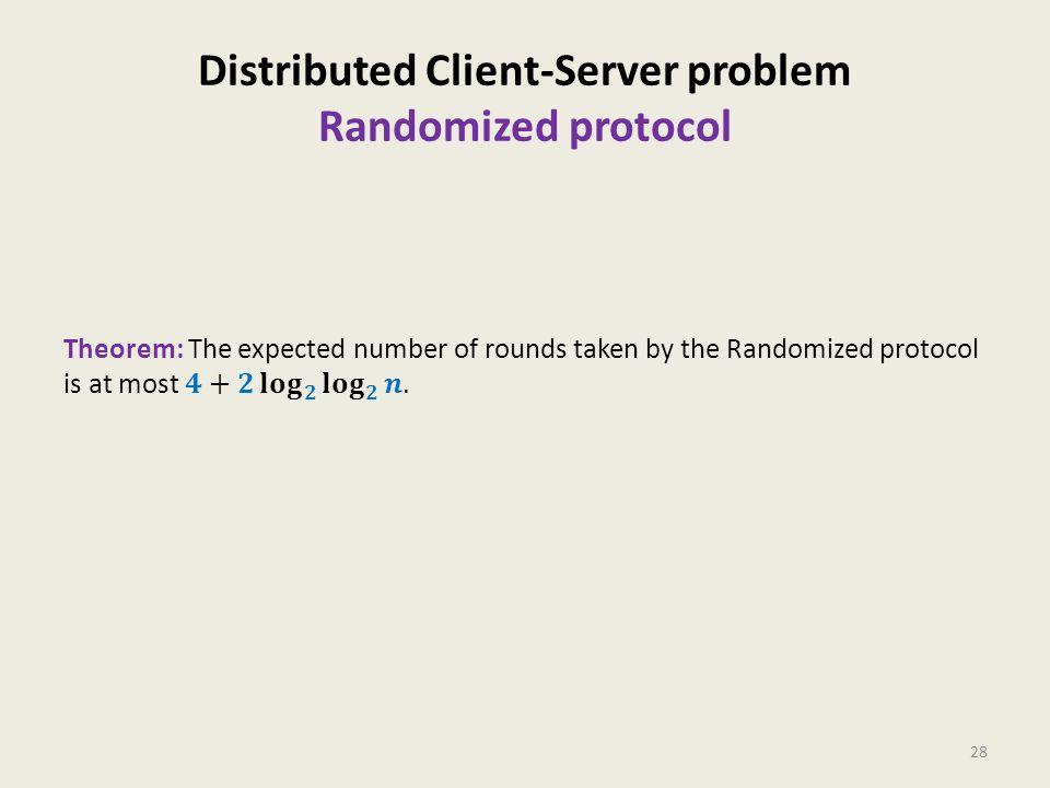Distributed Client-Server problem Randomized protocol 28