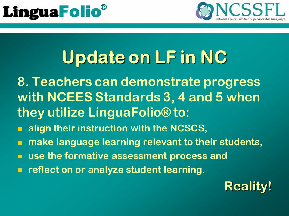 TM ® Update on LF in NC 8.