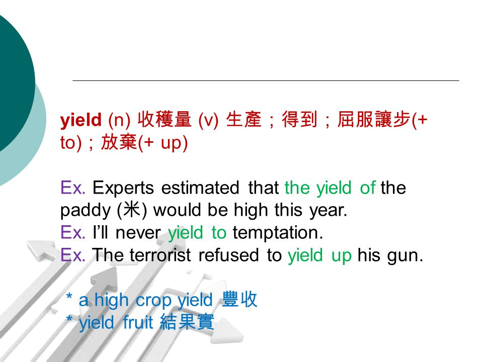 yield (n) 收穫量 (v) 生產;得到;屈服讓步 (+ to) ;放棄 (+ up) Ex. Experts estimated that the yield of the paddy ( 米 ) would be high this year. Ex. I'll never yield t