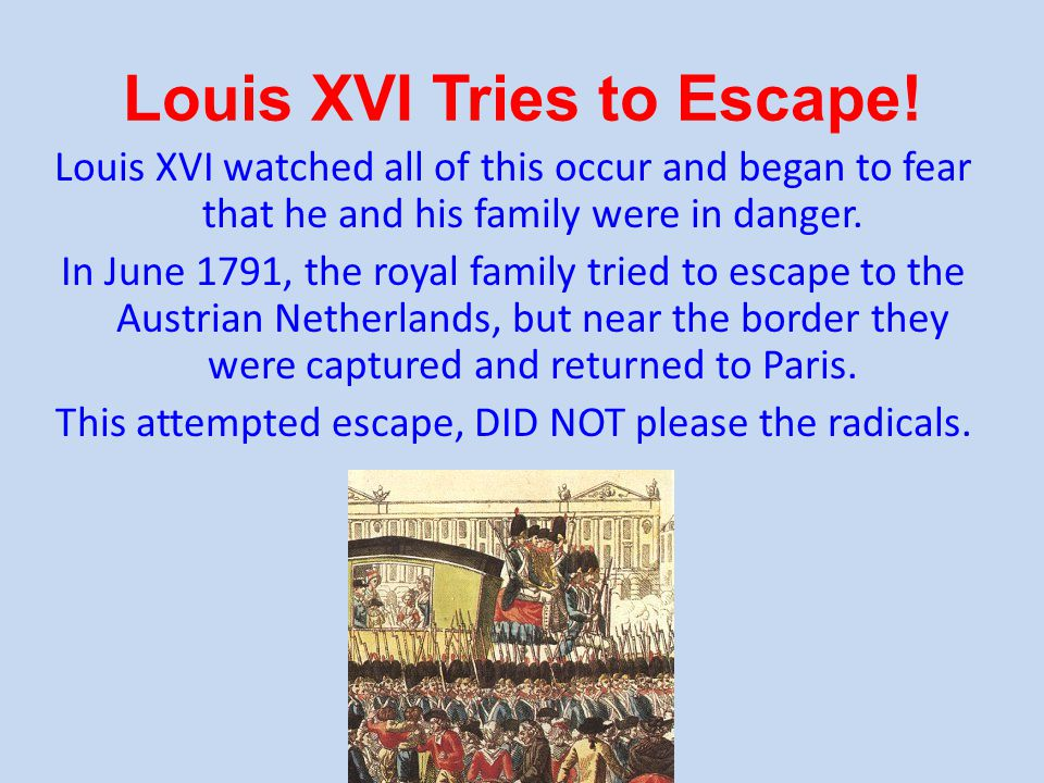 Louis XVI Tries to Escape.