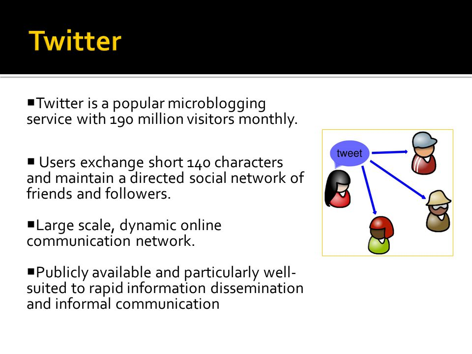  Twitter is a popular microblogging service with 190 million visitors monthly.