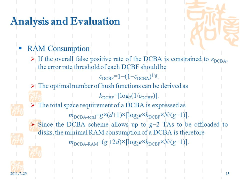 2011-7-2915 Analysis and Evaluation  RAM Consumption  If the overall false positive rate of the DCBA is constrained to ε DCBA, the error rate threshold of each DCBF should be ε DCBF =1−(1−ε DCBA ) 1/g.