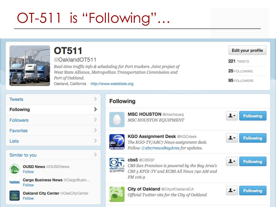 OT-511 is Following …