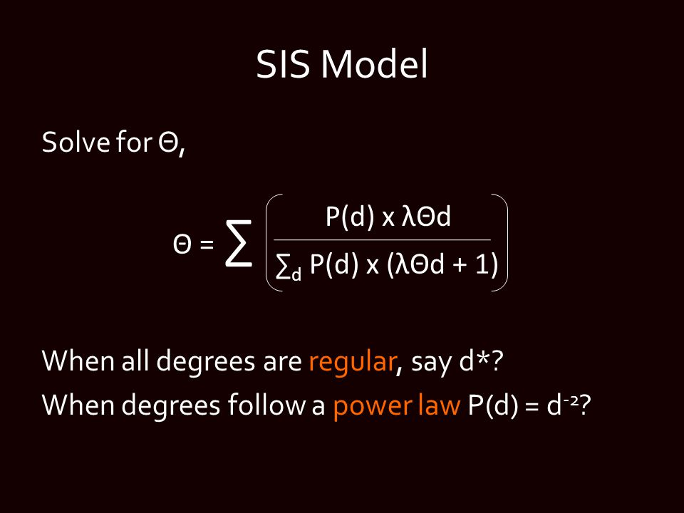 SIS Model Solve for Θ, When all degrees are regular, say d*.