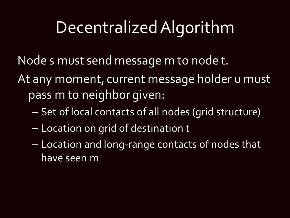 Decentralized Algorithm Node s must send message m to node t.