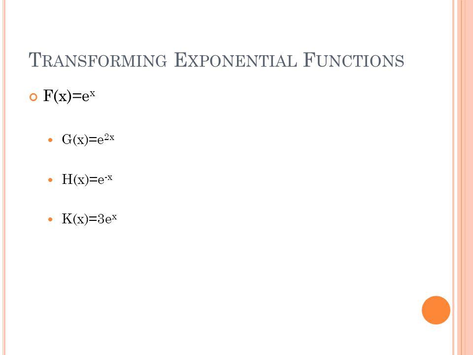 T RANSFORMING E XPONENTIAL F UNCTIONS F(x)=e x G(x)=e 2x H(x)=e -x K(x)=3e x