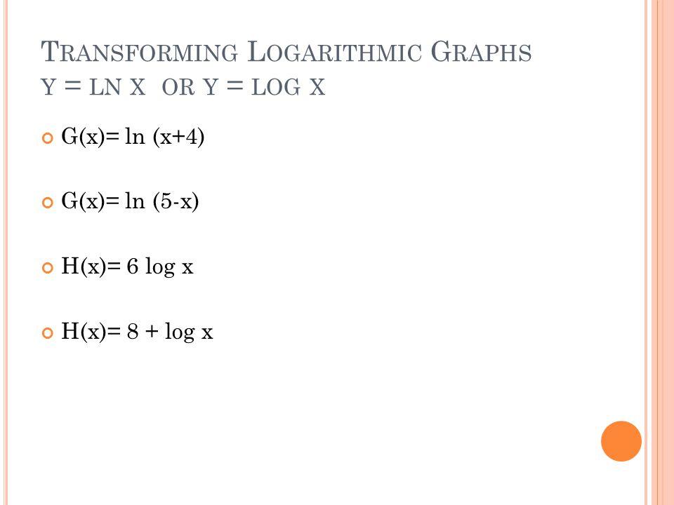 T RANSFORMING L OGARITHMIC G RAPHS Y = LN X OR Y = LOG X G(x)= ln (x+4) G(x)= ln (5-x) H(x)= 6 log x H(x)= 8 + log x