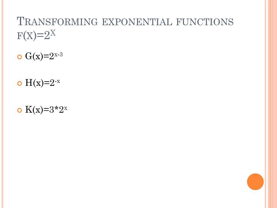 T RANSFORMING EXPONENTIAL FUNCTIONS F ( X )=2 X G(x)=2 x-3 H(x)=2 -x K(x)=3*2 x