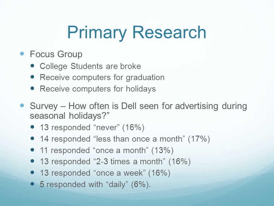 Primary Research Focus Group College Students are broke Receive computers for graduation Receive computers for holidays Survey – How often is Dell see