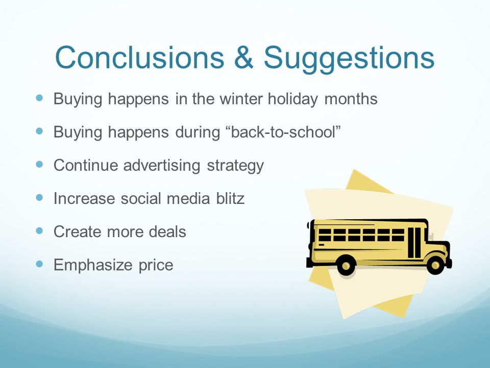 "Conclusions & Suggestions Buying happens in the winter holiday months Buying happens during ""back-to-school"" Continue advertising strategy Increase so"