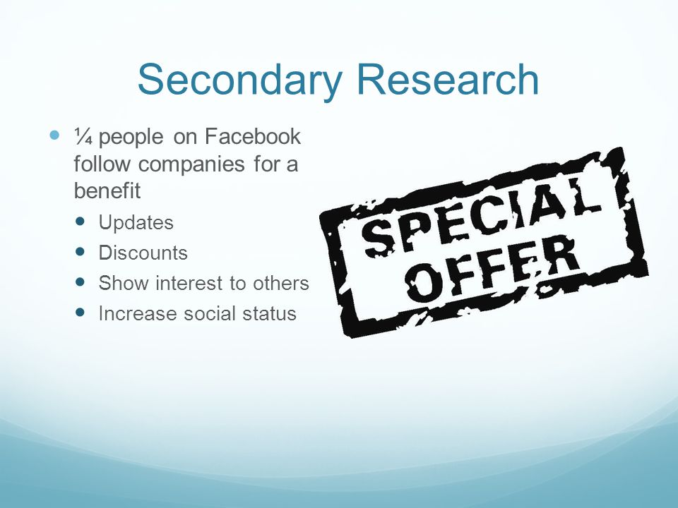 Secondary Research ¼ people on Facebook follow companies for a benefit Updates Discounts Show interest to others Increase social status