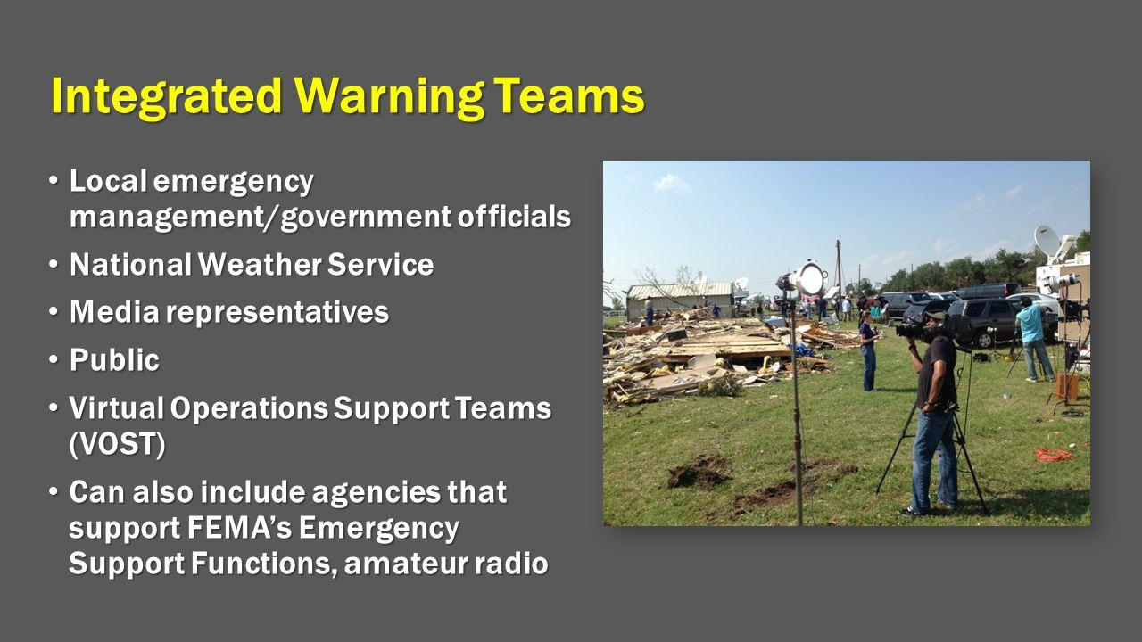 Integrated Warning Teams Local emergency management/government officials Local emergency management/government officials National Weather Service Nati