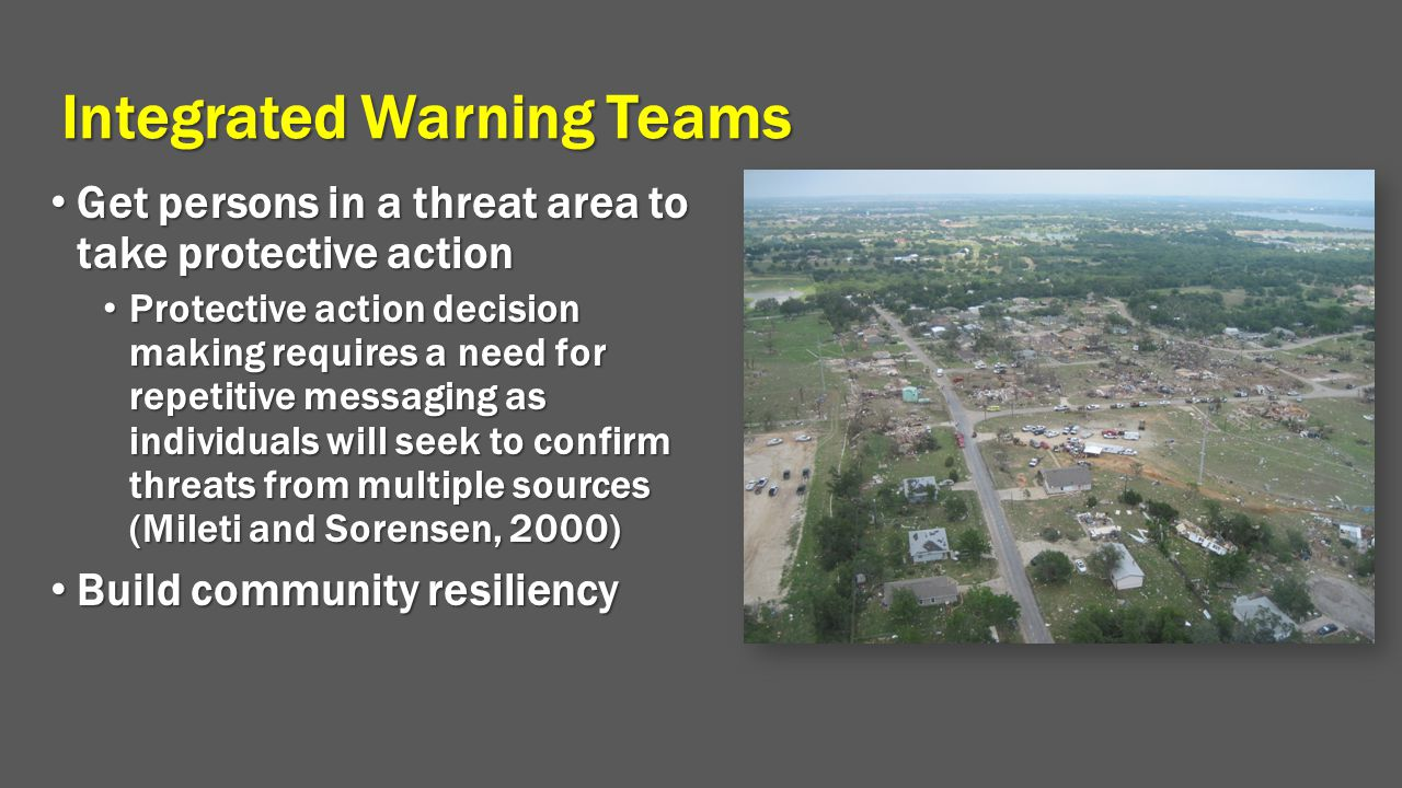 Integrated Warning Teams Get persons in a threat area to take protective action Get persons in a threat area to take protective action Protective acti