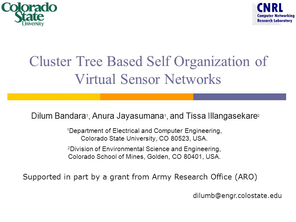 Cluster Tree Based Self Organization of Virtual Sensor Networks Dilum Bandara 1, Anura Jayasumana 1, and Tissa Illangasekare 2 1 Department of Electrical and Computer Engineering, Colorado State University, CO 80523, USA.