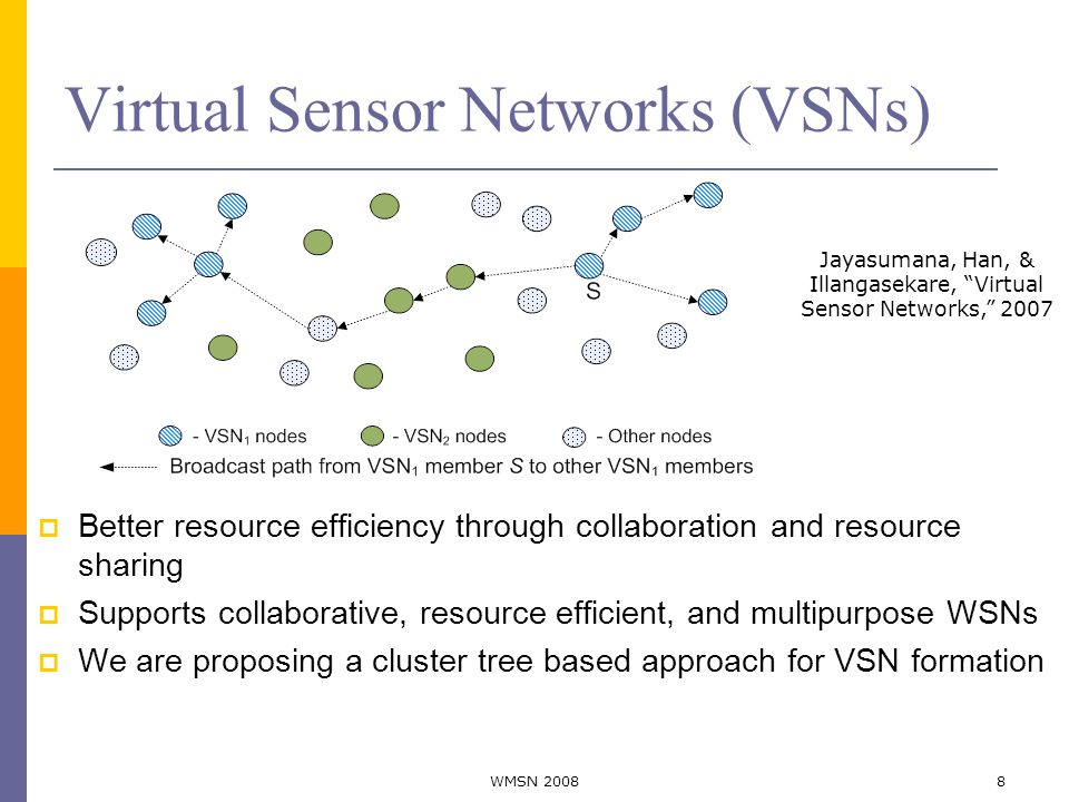 Virtual Sensor Networks (VSNs)  Better resource efficiency through collaboration and resource sharing  Supports collaborative, resource efficient, and multipurpose WSNs  We are proposing a cluster tree based approach for VSN formation Jayasumana, Han, & Illangasekare, Virtual Sensor Networks, 2007 8WMSN 2008