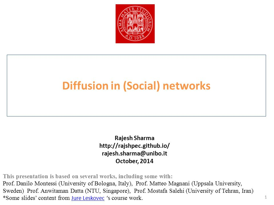 Agenda Preliminary – Overview of Networks – Diffusion on Networks in Monoplex Models, Algorithms etc.