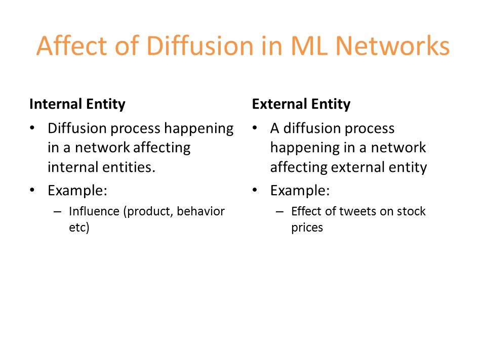 4 possibilities of diffusion in ML Same-node inter-layer – Cascade switches layer but remains on the same node – Facebook post is shared on Twitter Other-node inter-layer – Cascade continues spreading to another node in another layer – The spread of a disease in an interconnected network of cities Other-node intra-layer – Cascade continues spreading through the same layer.