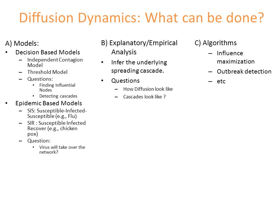 Diffusion Dynamics: What can be done.