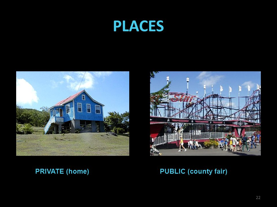 PLACES PRIVATE (home)PUBLIC (county fair) 22