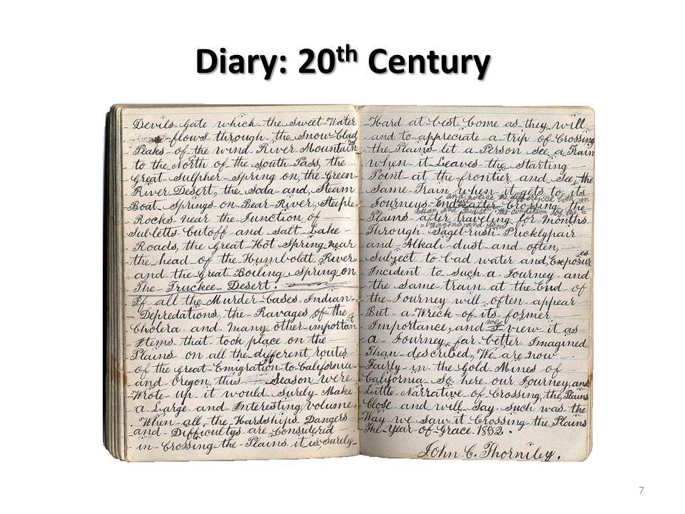 Diary: 20 th Century 7