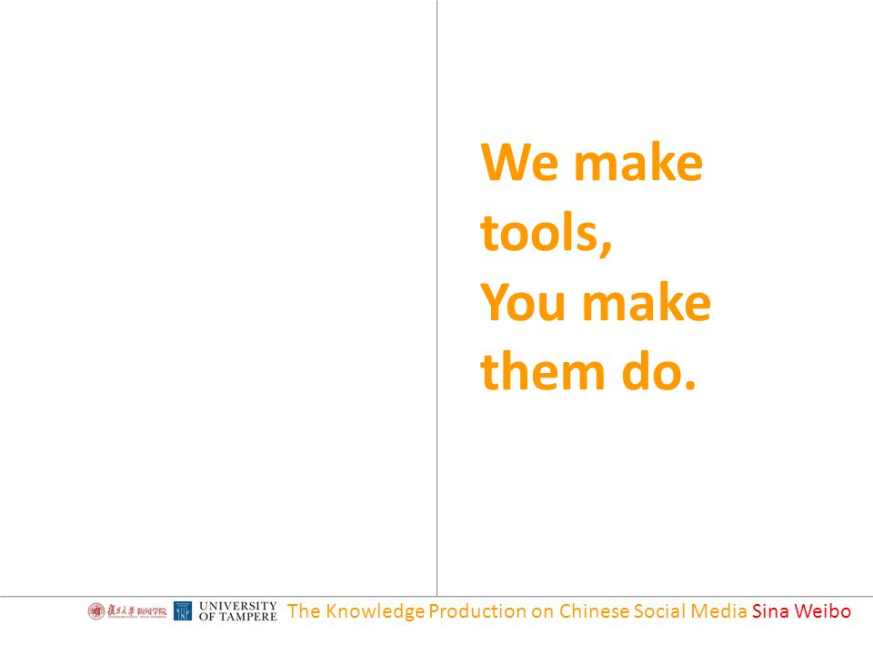 We make tools, You make them do. The Knowledge Production on Chinese Social Media Sina Weibo