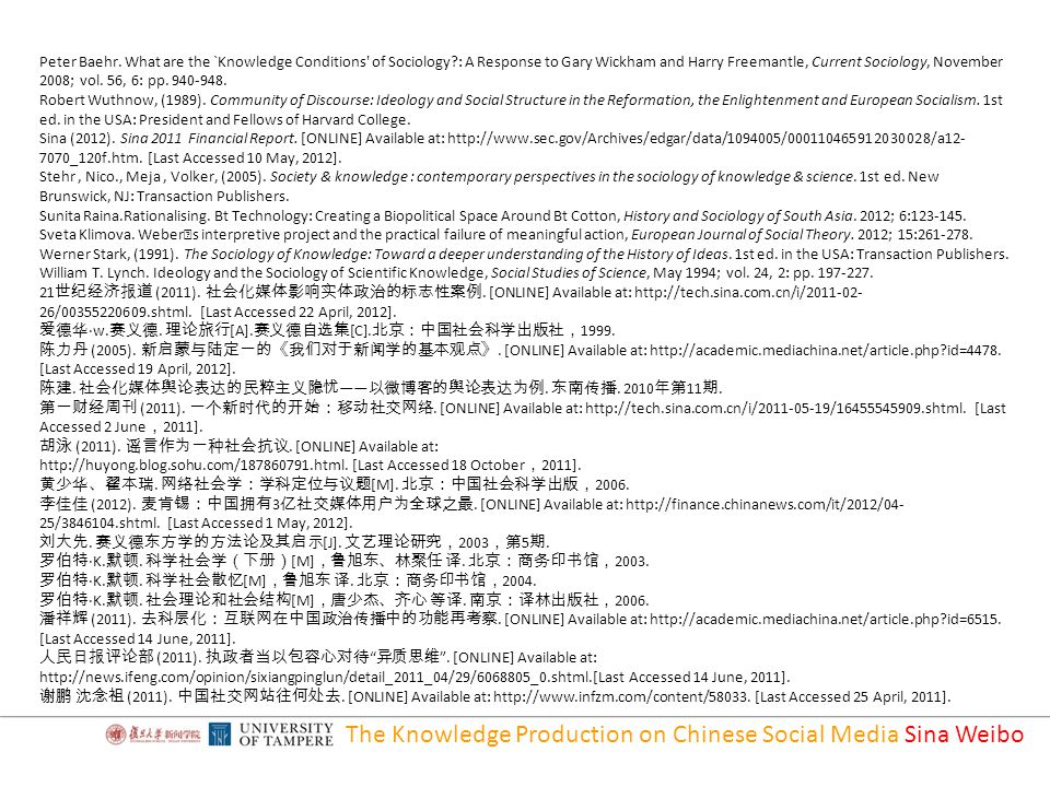 The Knowledge Production on Chinese Social Media Sina Weibo Peter Baehr.