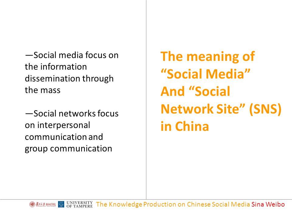 The Knowledge Production on Chinese Social Media Sina Weibo Eugene J.