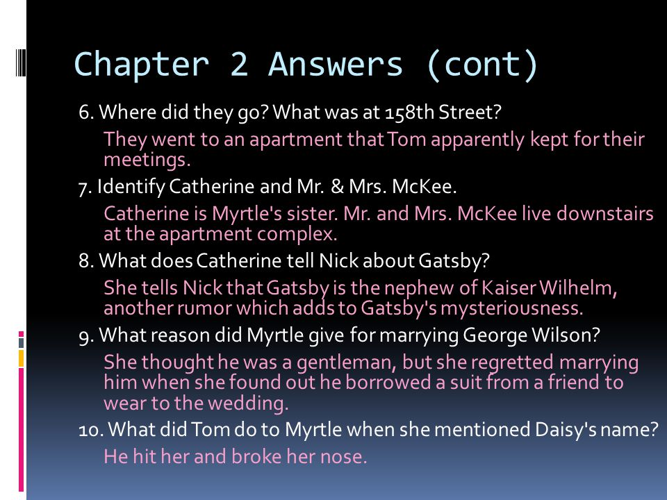 Chapter 2 Answers (cont) 6.Where did they go. What was at 158th Street.