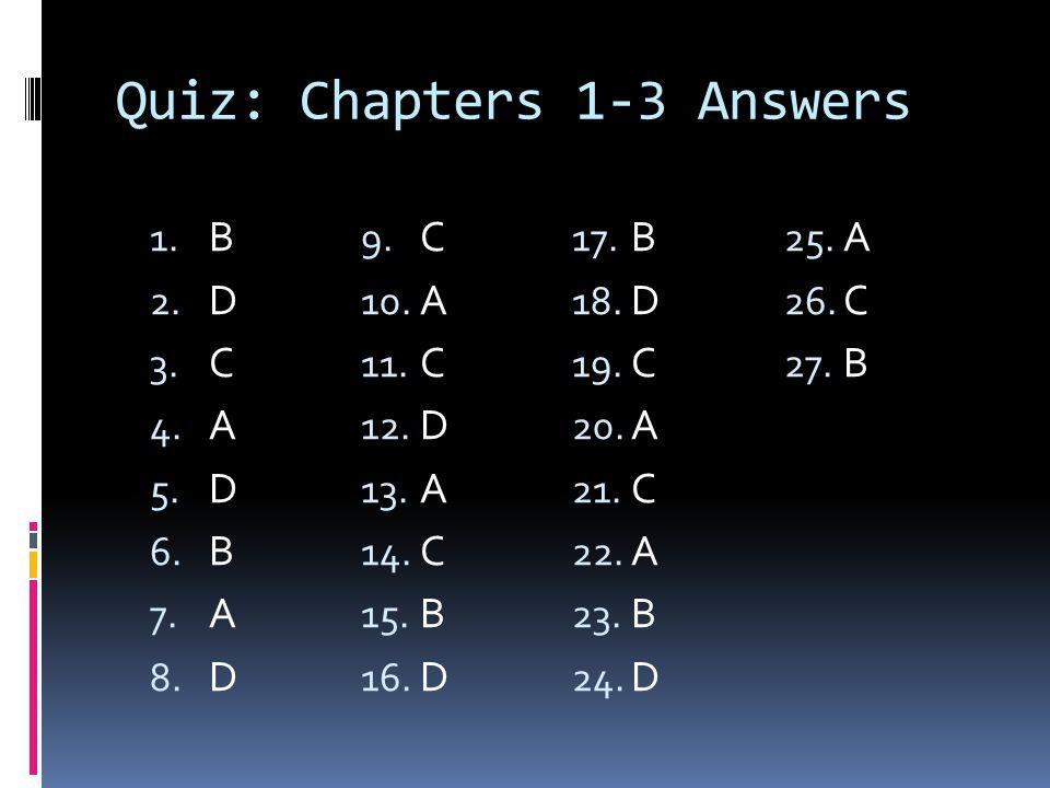 Quiz: Chapters 1-3 Answers 1. B 2. D 3. C 4. A 5. D 6. B 7. A 8. D 9. C 10. A 11. C 12. D 13. A 14. C 15. B 16. D 17. B 18. D 19. C 20. A 21. C 22. A