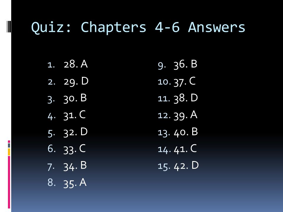 Quiz: Chapters 4-6 Answers 1. 28. A 2. 29. D 3. 30. B 4. 31. C 5. 32. D 6. 33. C 7. 34. B 8. 35. A 9. 36. B 10. 37. C 11. 38. D 12. 39. A 13. 40. B 14