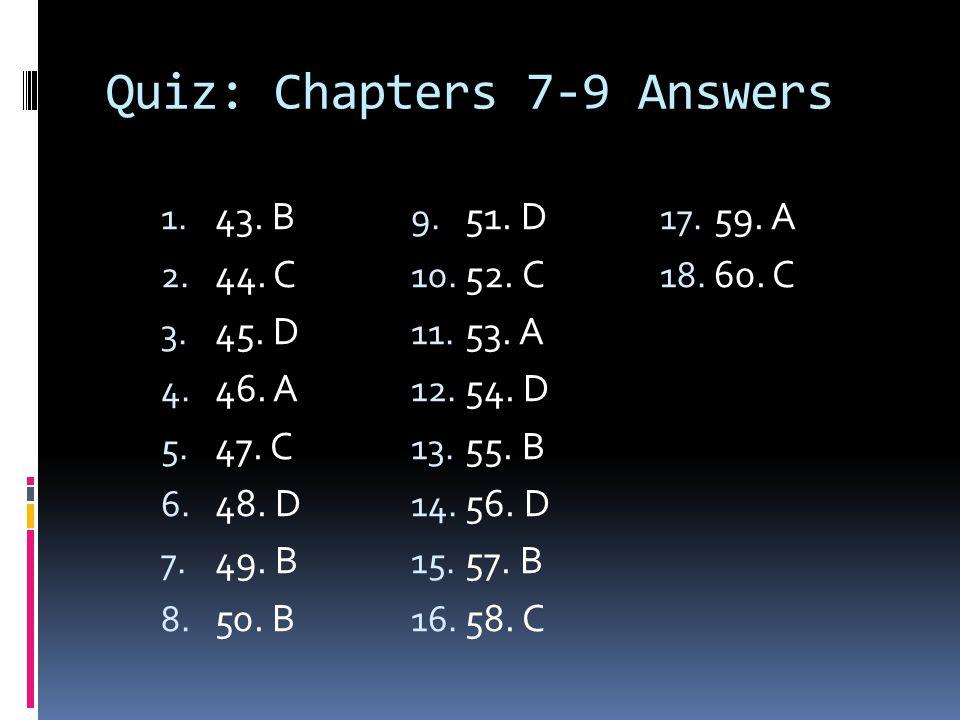Quiz: Chapters 7-9 Answers 1. 43. B 2. 44. C 3. 45. D 4. 46. A 5. 47. C 6. 48. D 7. 49. B 8. 50. B 9. 51. D 10. 52. C 11. 53. A 12. 54. D 13. 55. B 14