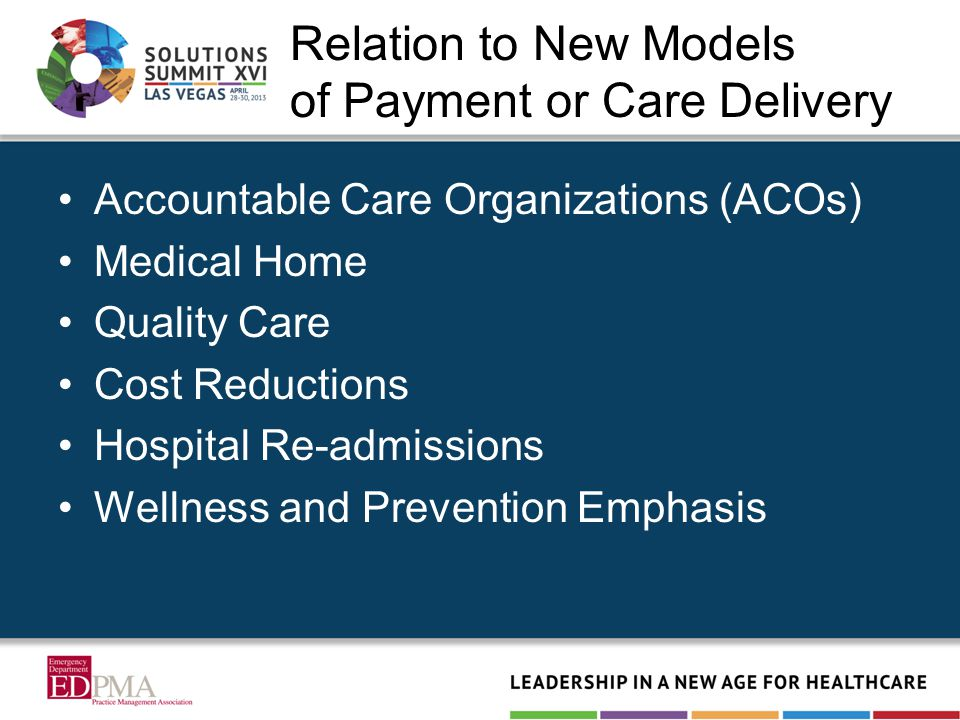 Relation to New Models of Payment or Care Delivery Accountable Care Organizations (ACOs) Medical Home Quality Care Cost Reductions Hospital Re-admissi