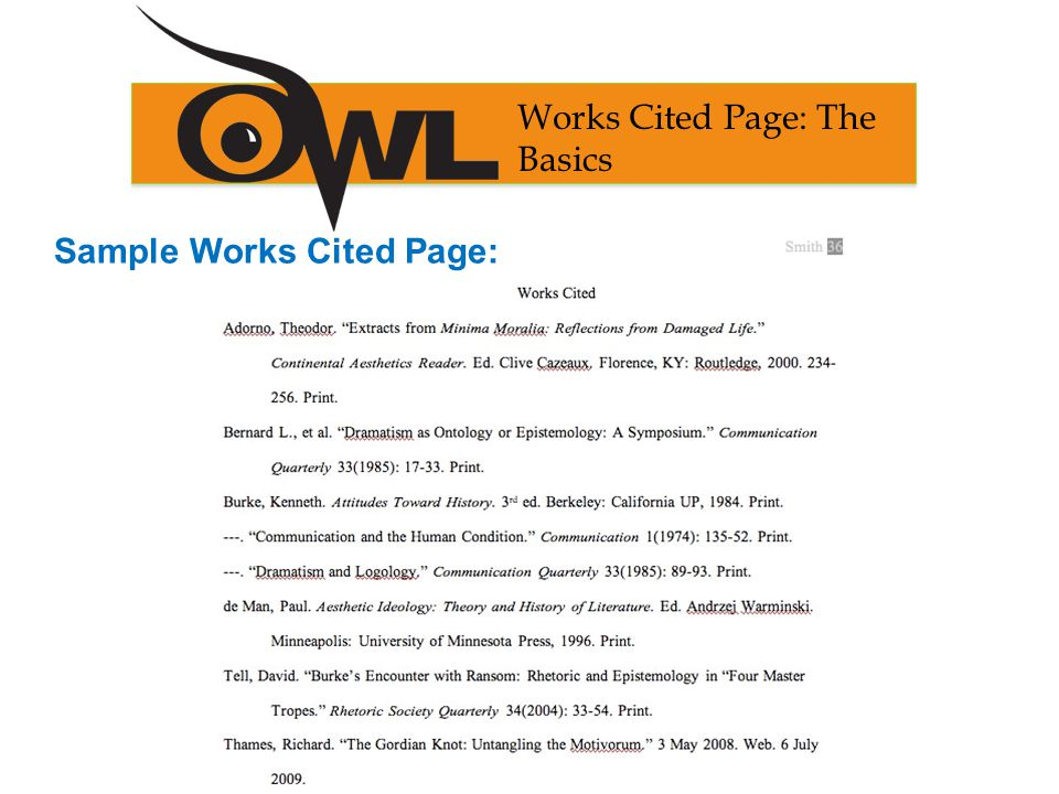 Sample Works Cited Page: Works Cited Page: The Basics