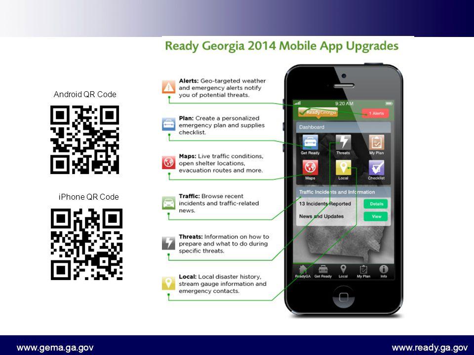 www.gema.ga.govwww.ready.ga.gov Android QR Code iPhone QR Code
