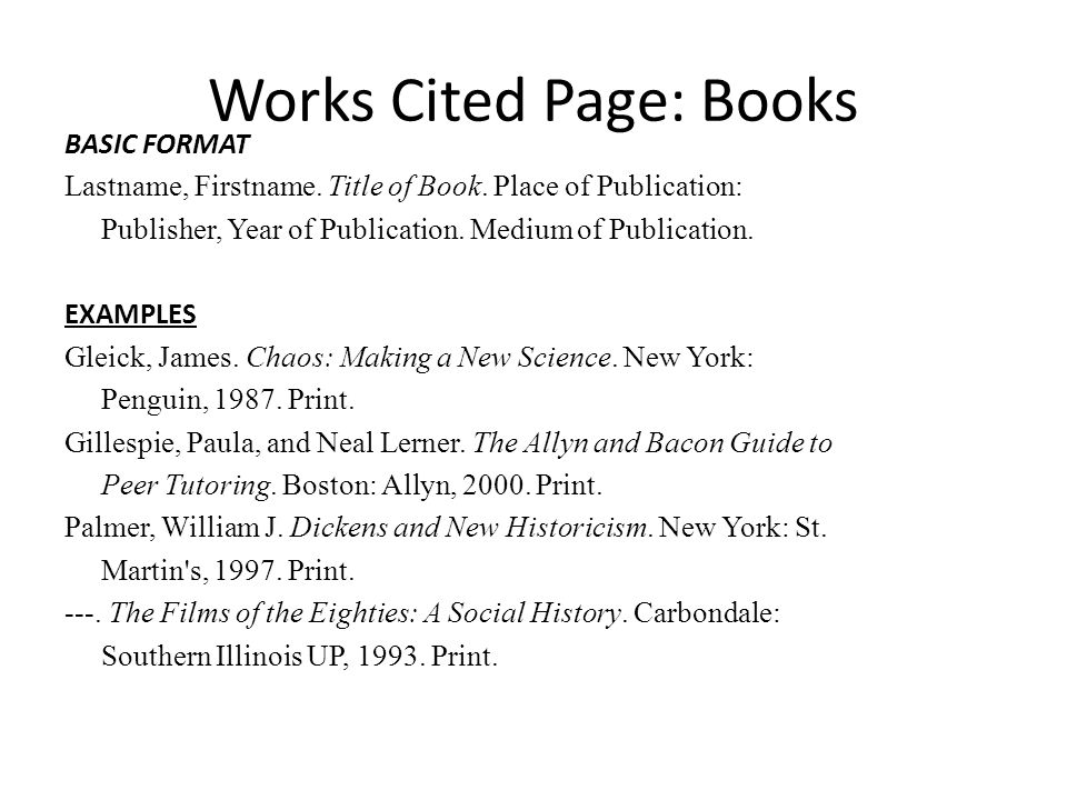 Type the works cited page
