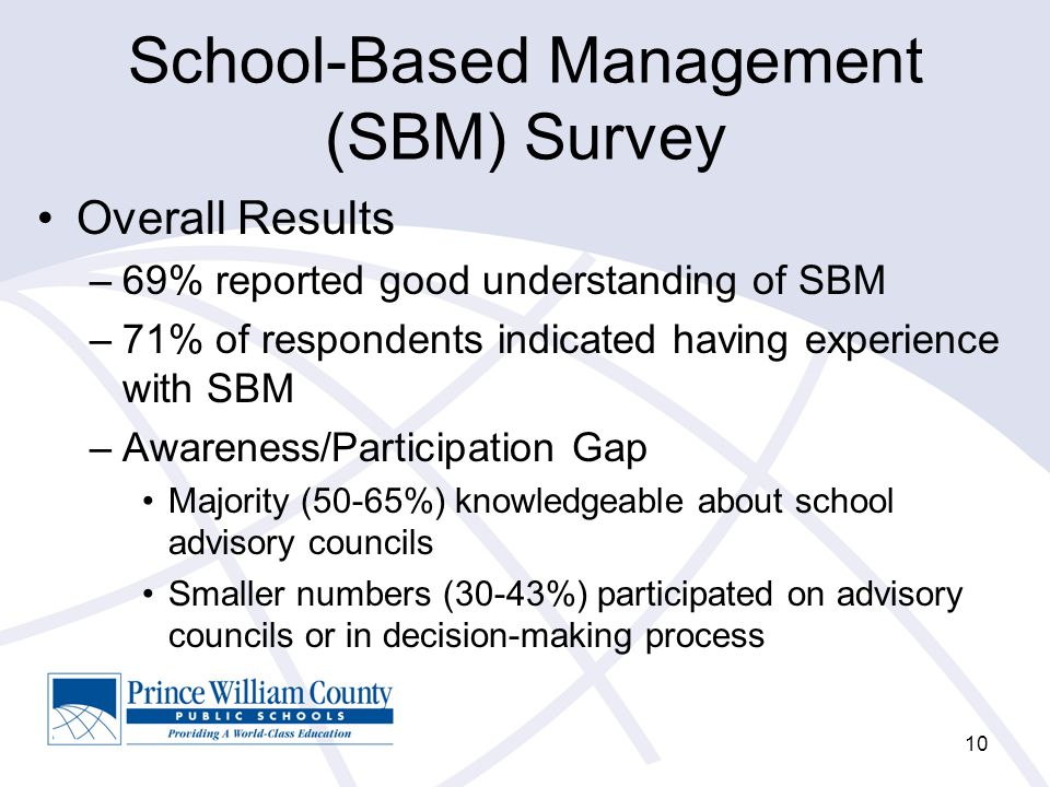 School-Based Management (SBM) Survey Overall Results –69% reported good understanding of SBM –71% of respondents indicated having experience with SBM –Awareness/Participation Gap Majority (50-65%) knowledgeable about school advisory councils Smaller numbers (30-43%) participated on advisory councils or in decision-making process 10