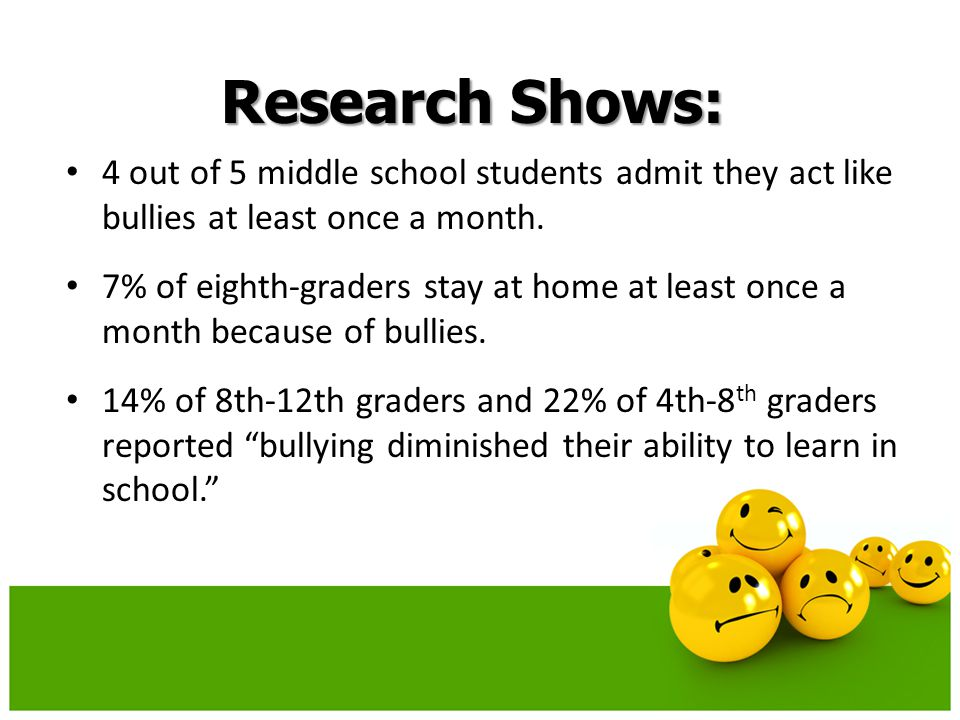 Research Shows: 4 out of 5 middle school students admit they act like bullies at least once a month.